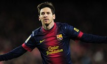 Barcelona's Lionel Messi celebrates a goal